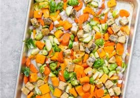 Sheet Pan Maple Balsamic Tempeh and Vegetables