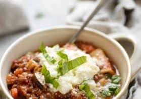 Slow Cooker Lentil Lasagna Soup