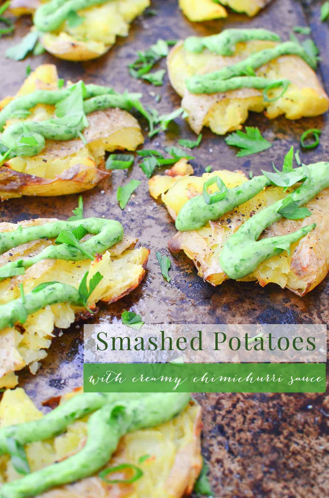 Crispy Smashed Potatoes with Creamy Chimichurri Sauce! You'll want to bring this to your next cookout or potluck! Vegan and Gluten-Free   www.delishknowledge.com