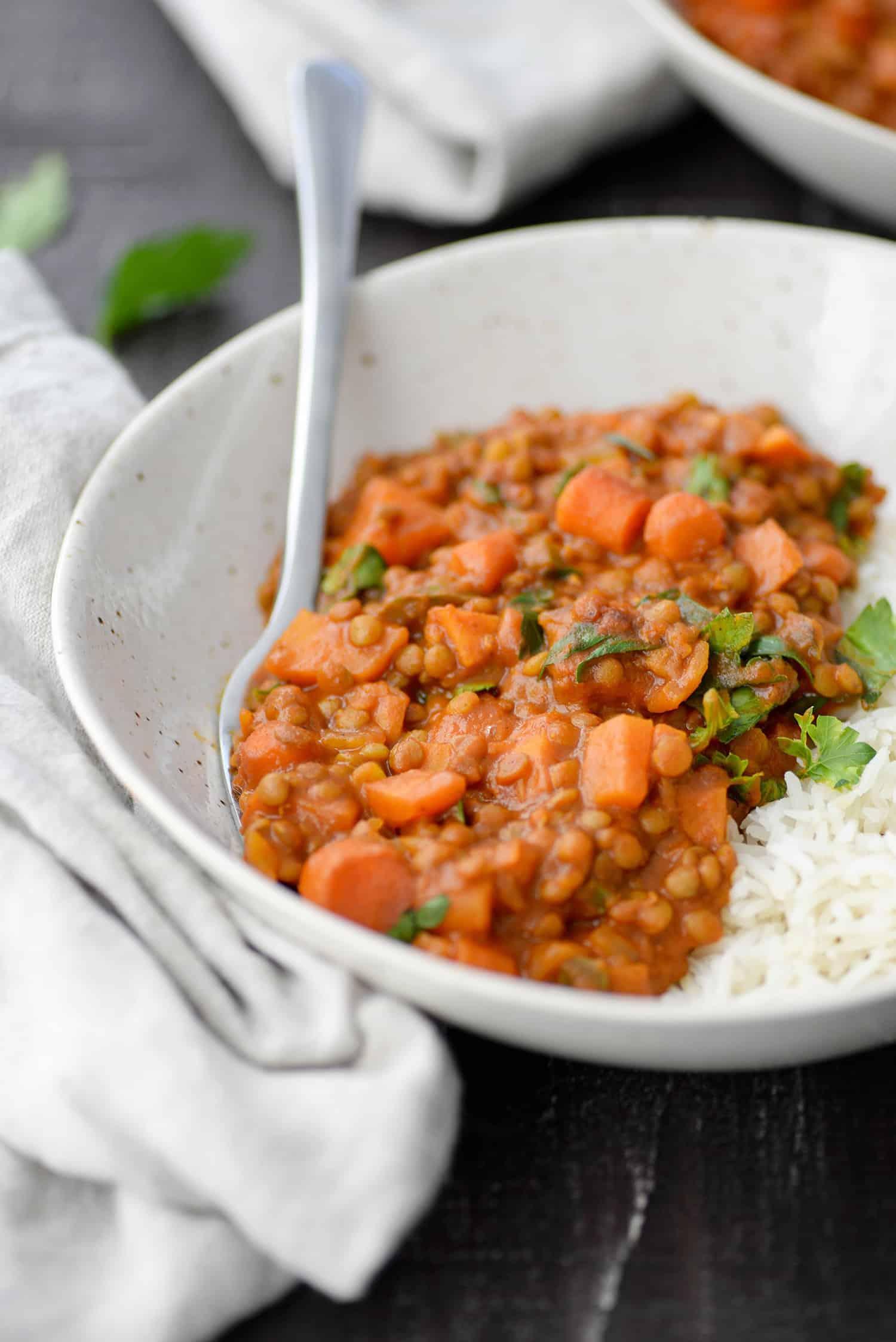 bowl of vegan coconut curry lentils