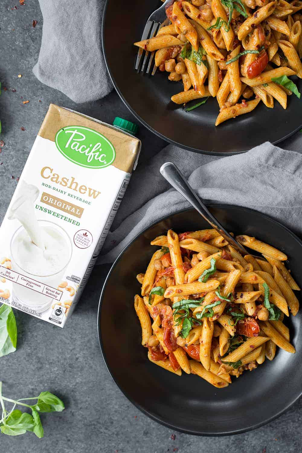 bowl of vegan penne pasta with cashew sauce