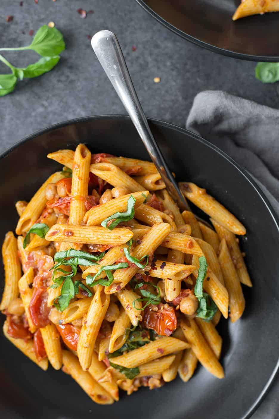 vegan pasta with slow roasted cherry tomatoes
