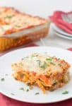 Spring Vegetable Lasagna! Layers of zucchini, spinach, peas and creamy ricotta. Less than 250 calories per slice. #vegetarian | delishknowledge.com