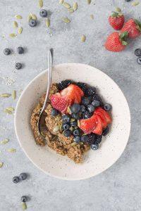bowl of vegan baked oatmeal