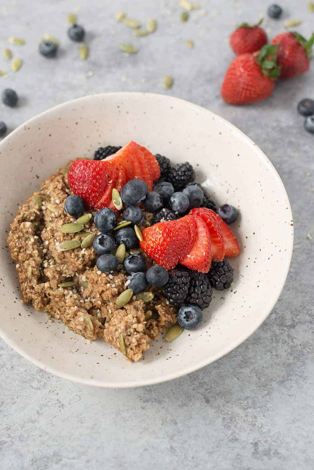 gluten-free baked oatmeal recipe bowl with berries