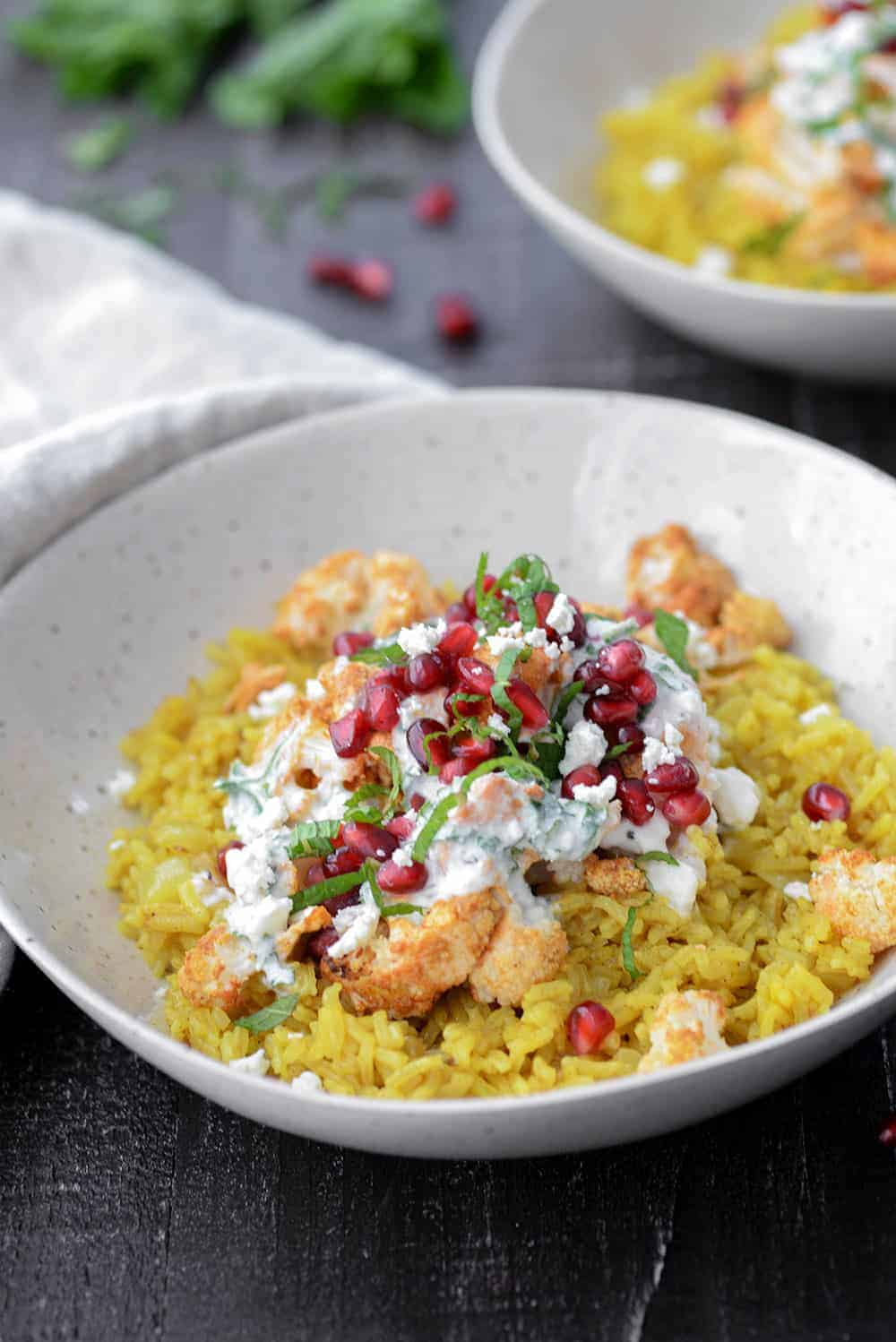 turmeric basmati rice with tandoori cauliflower and feta yogurt sauce