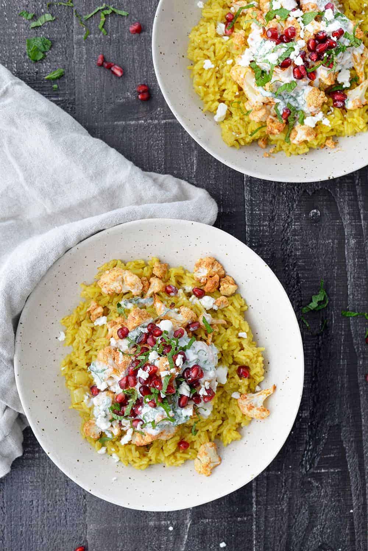 turmeric rice with tandoori cauliflower and feta yogurt sauce
