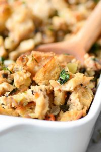 The BEST Vegan Stuffing! Made with homemade tempeh sausage, sauteed vegetables and sourdough bread. This stuffing is a must make for Thanksgiving and the holidays. | www.delishknowledge.com | #stuffing #vegan #thanksgiving #healthy #christmas #holidays #healthy #sourdoughbread #tempe