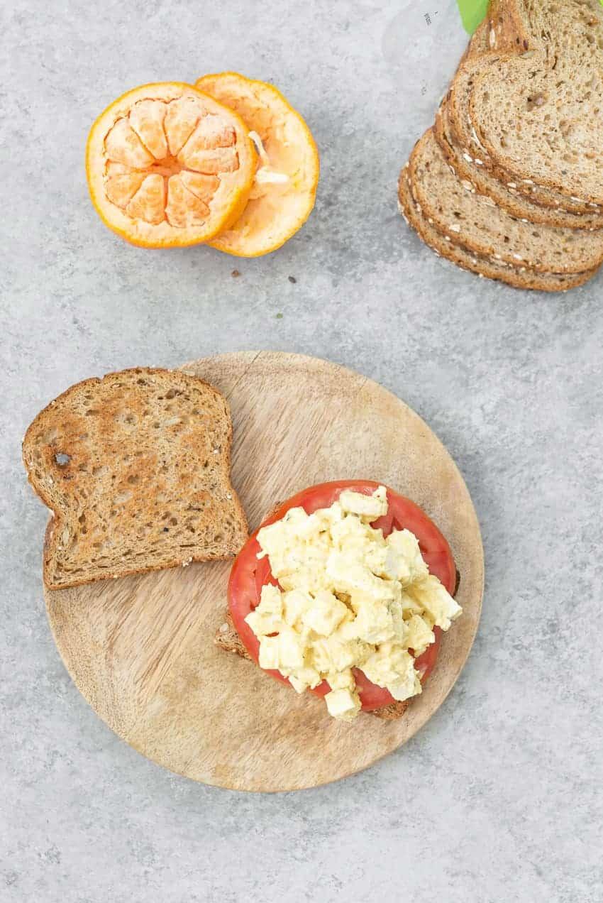 open faced vegan egg salad sandwich