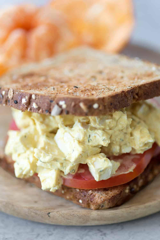 vegan egg salad sandwich made with tofu