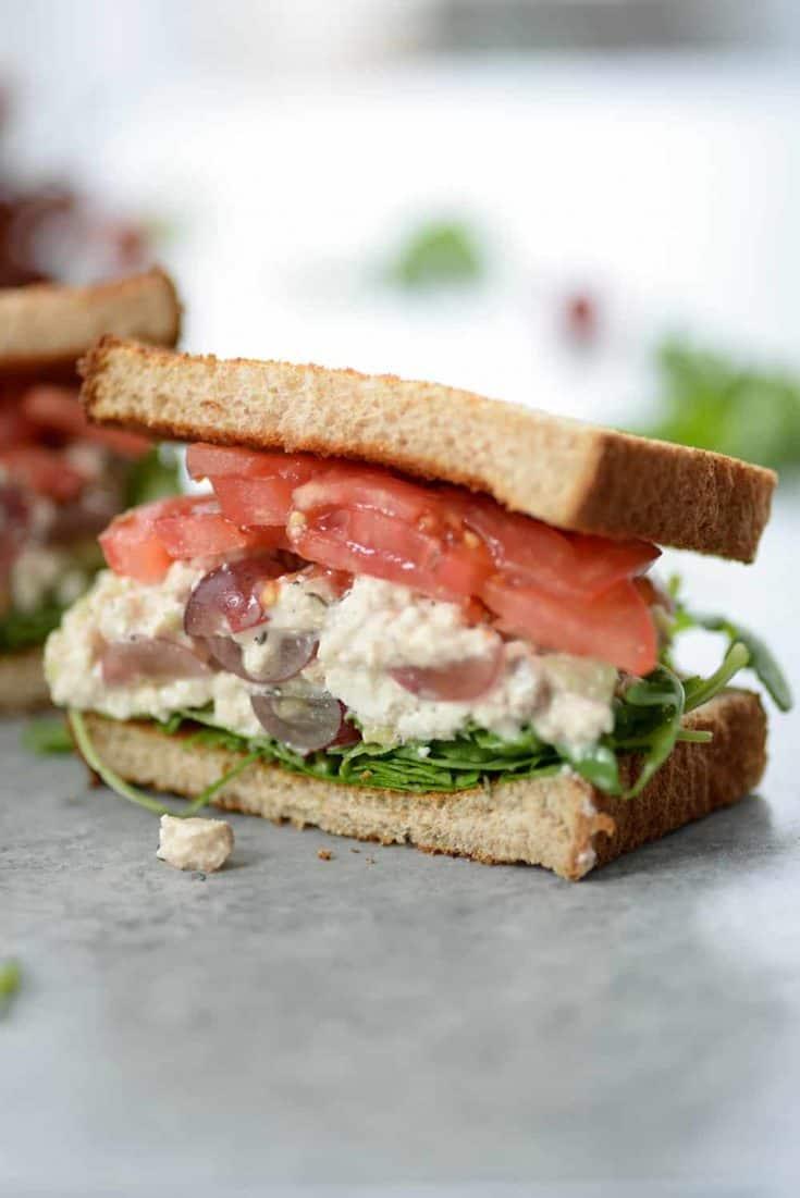 Tofu Chicken Greens Sandwich