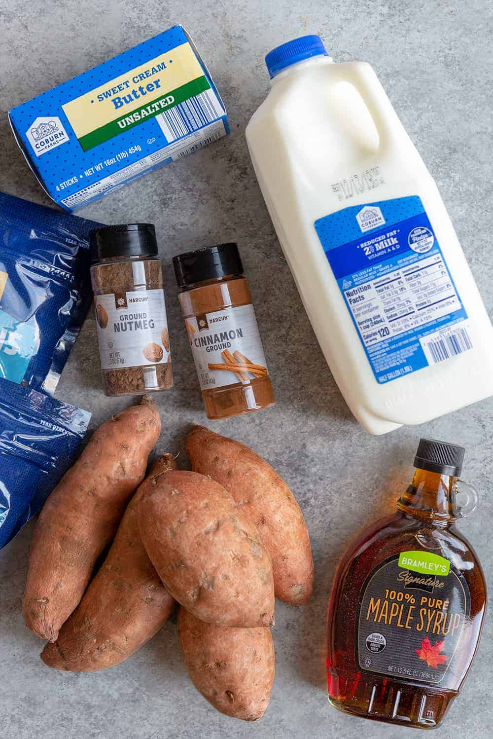 ingredients for twice baked sweet potatoes