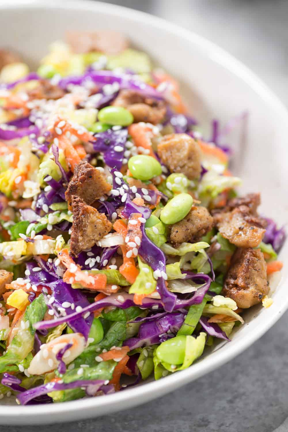 close up shot of the chinese chicken salad