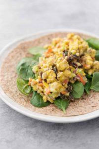 vegan curried tempeh salad wrap