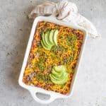 Healthy Vegan Enchilada Casserole with Sauce