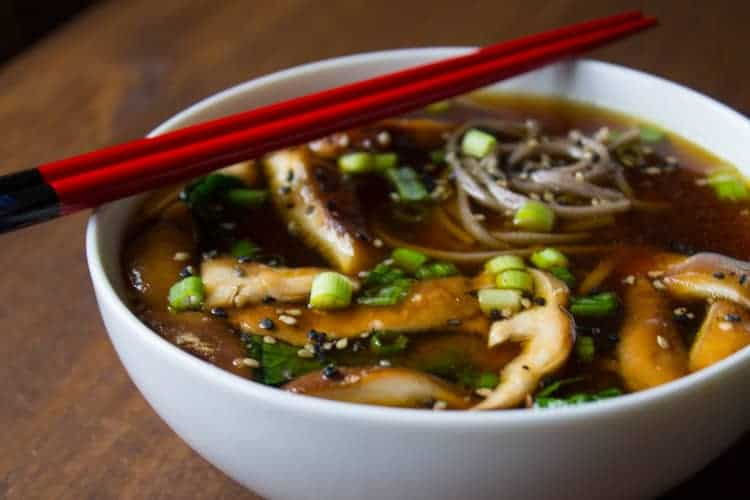 foods like miso, ginger, and mushrooms, this vegan miso soup ...