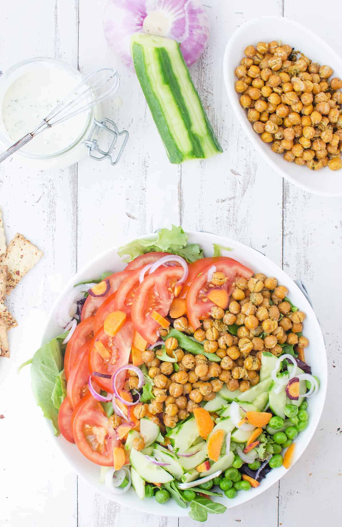 Vegan and Gluten Free Ranch Bowls! These salads bowls are packed with vegetables and ranch roasted chickpeas! 250 calories, 11g fiber, 12g protein. | www.delishknowledge.com