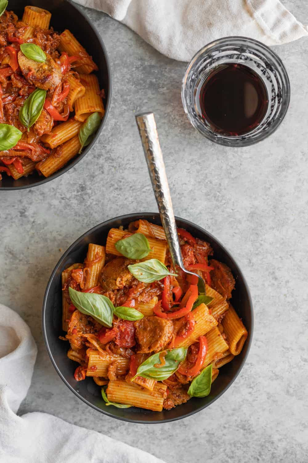 Vegan Rigatoni with Sausage and Peppers in a bowl