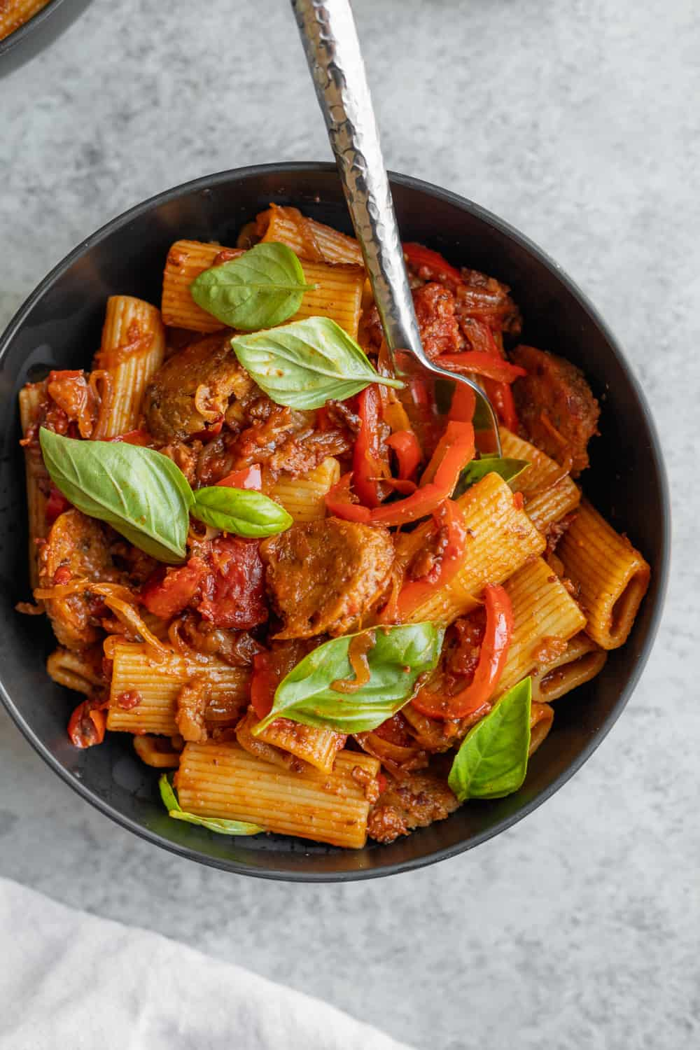 Vegan Rigatoni with Sausage and Peppers in a big bowl