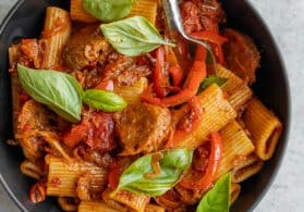 Vegan Rigatoni with Peppers and Sausage
