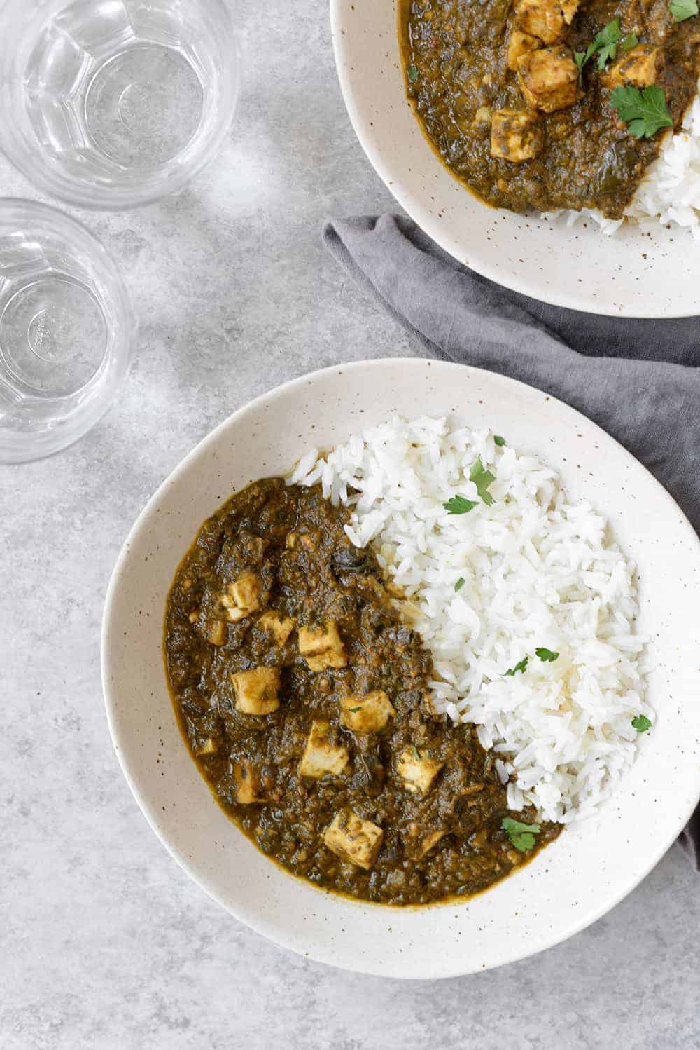 vegan crockpot saag paneer using tofu paneer