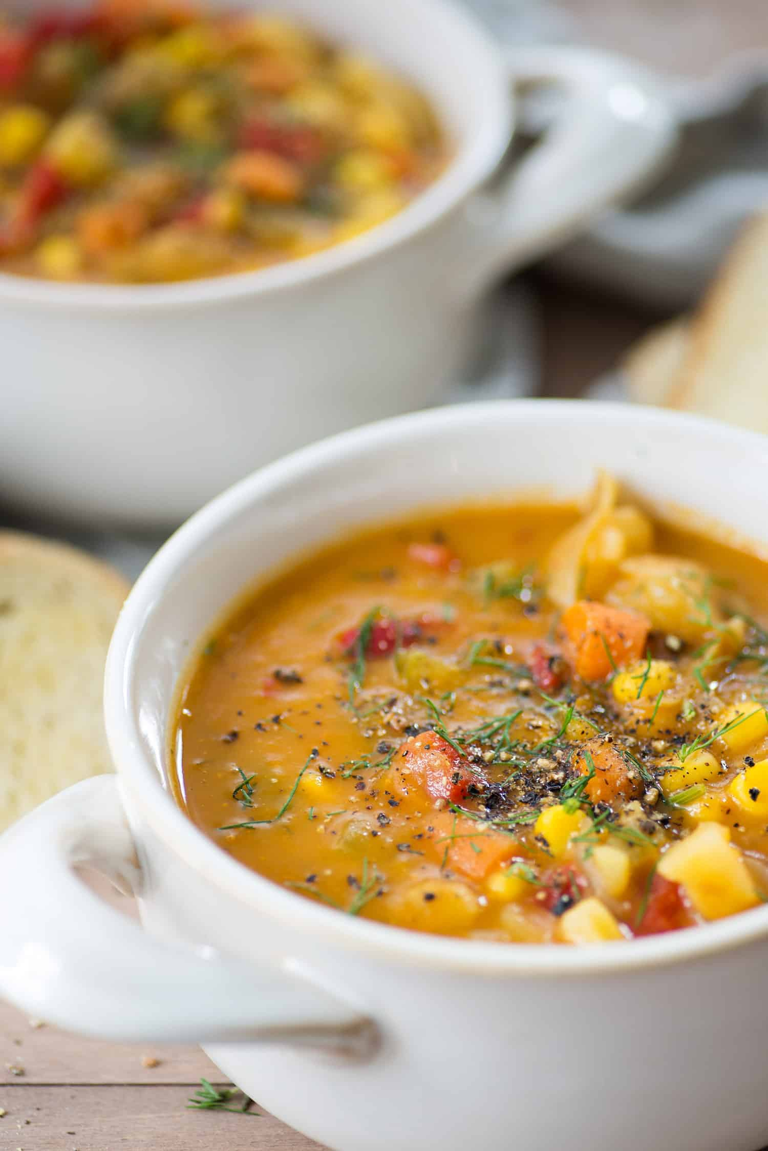 Vegan Vegetable and Potato Chowder! You are going to love this healthy and hearty chowder. Packed with vegetables, Vegan and Gluten-Free   www.delishknowledge.com