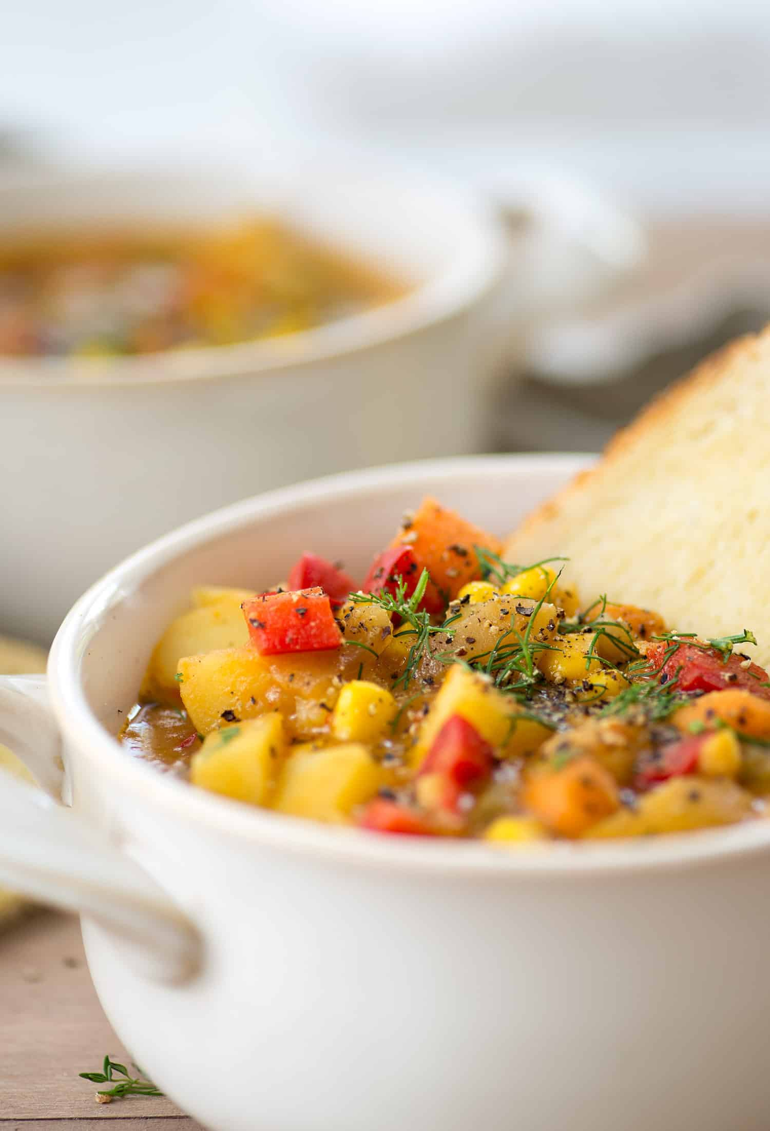 Vegan Vegetable and Potato Chowder! You are going to love this healthy and hearty chowder. Packed with vegetables, Vegan and Gluten-Free | www.delishknowledge.com