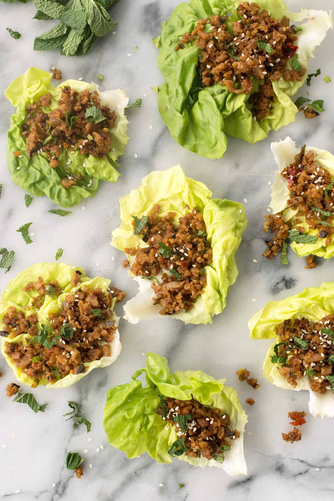 Vegan Thai Larb Lettuce Wraps! These spicy wraps are the perfect healthy dinner.| www.delishknowledge.com