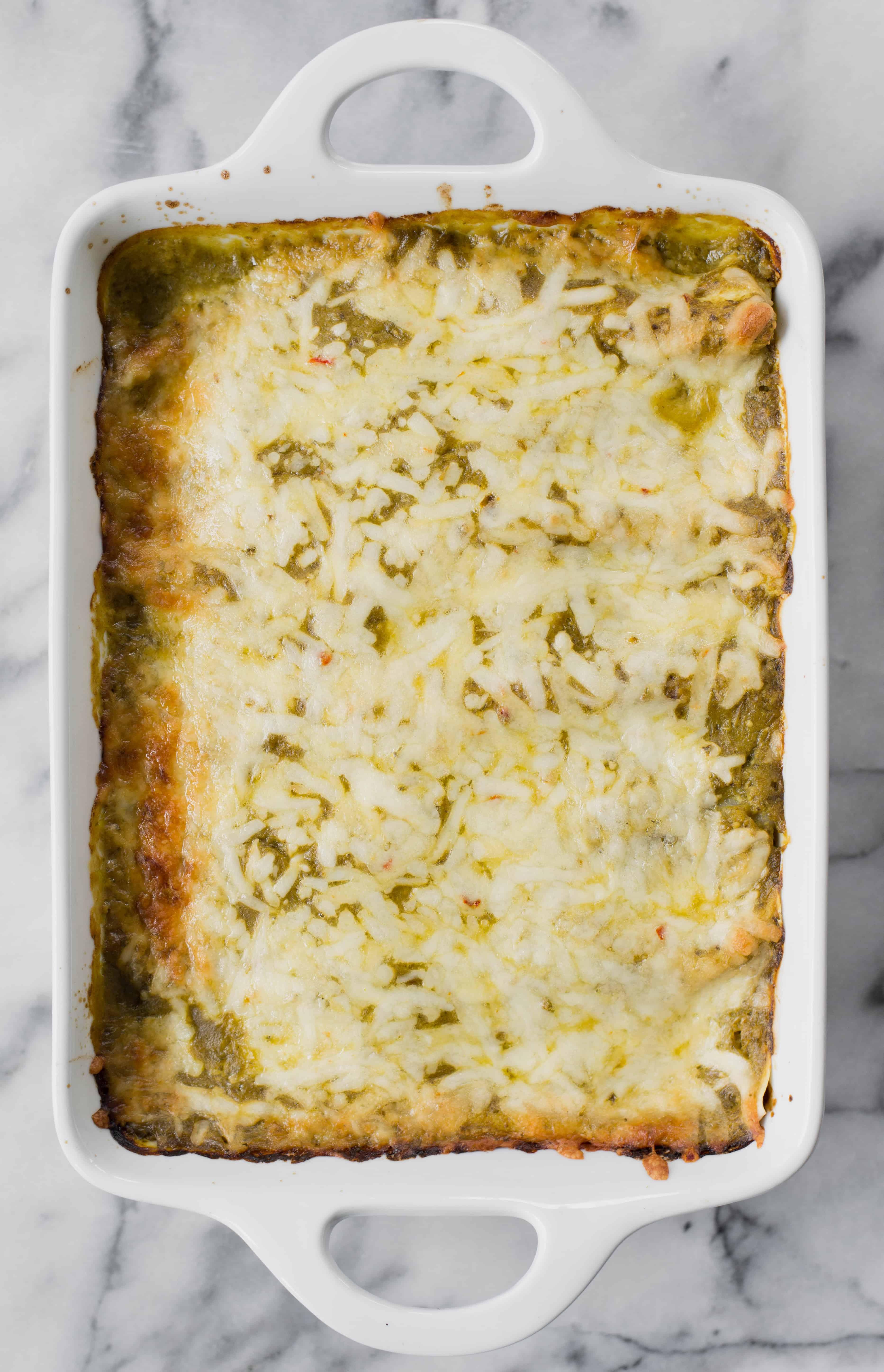 pan of enchiladas verdes