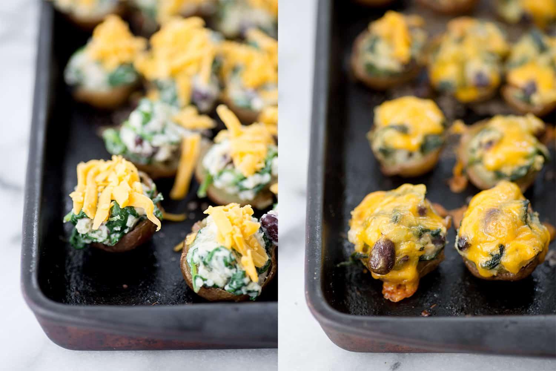 Vegetarian Southwestern Stuffed Potato Skins! Spicy potato, beans and ...