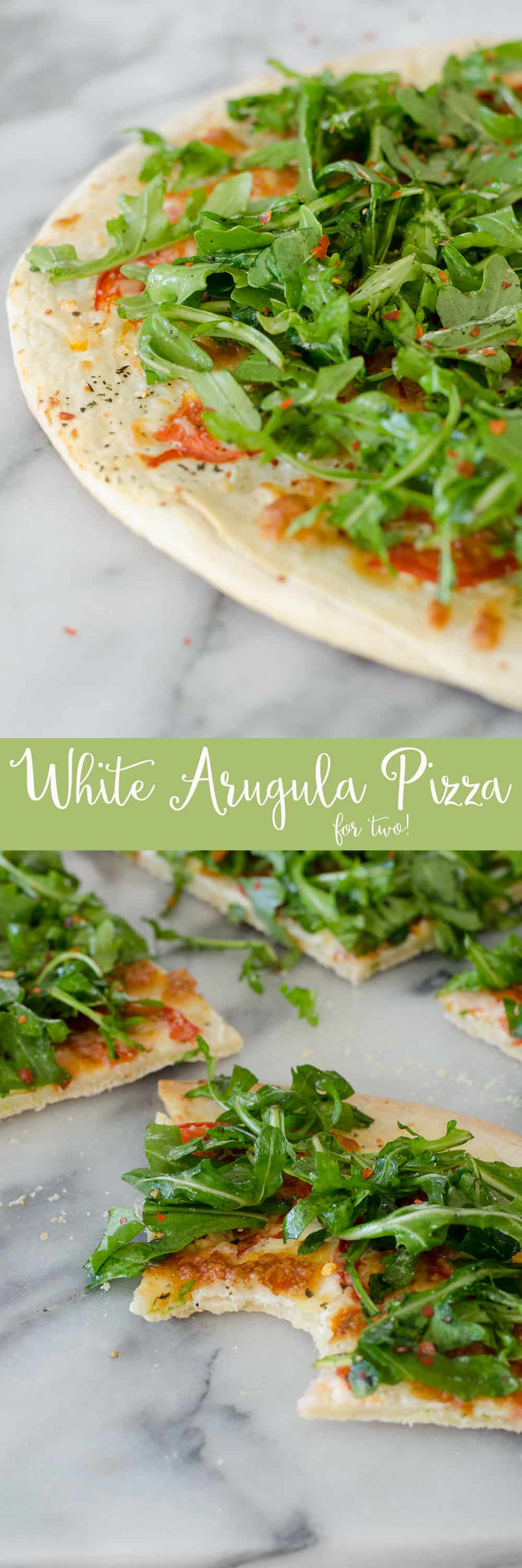 White Pizza with Arugula for Two! This pizza is ready in just 30 minutes and serves 2. White Pizza with spicy arugula salad. | www.delishknowledge.com
