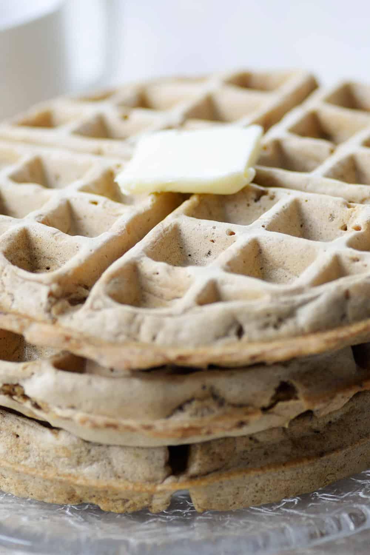 close up shot of whole wheat waffles