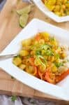 Yellow Curry Bowls! These vegan and gluten free curry bowls are a MUST-MAKE! Potatoes, chickpeas & peppers simmered in a coconut curry sauce.   www.delishknowledge.com