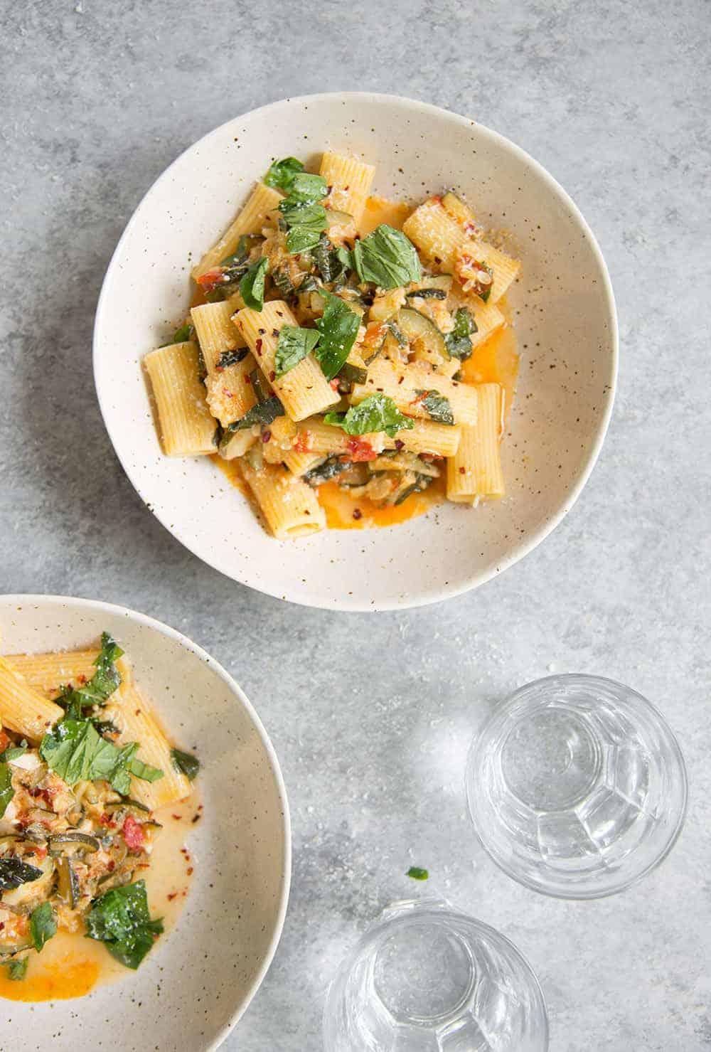zucchini rigatoni with basil and tomatoes
