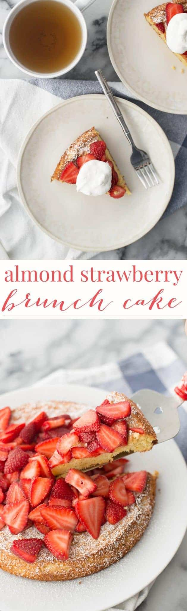 Almond Strawberry Cake. The perfect brunch cake, lightly sweetened almond cake topped with orange-scented berries. | delishknowledge.com