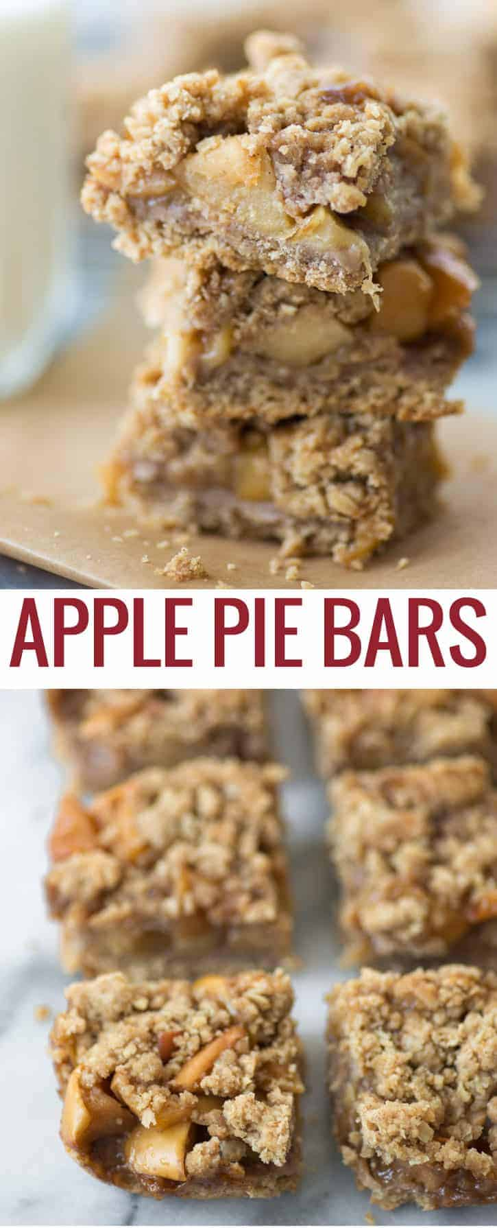 Apple Pie Bars! These bars taste just like apple pie- with a fraction of the work! Whole-wheat and oat crust with seasoned apples.   www.delishknowledge.com