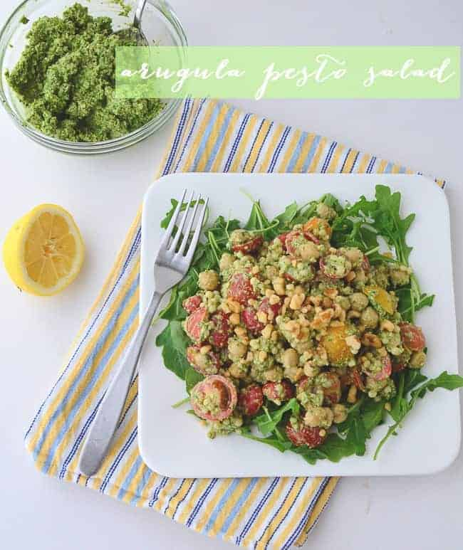 Arugula Salad with Couscous and Chickpeas (vegan & gluten free)