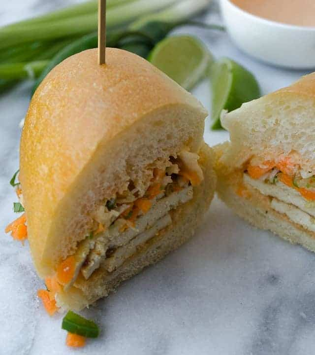 The Vegan Banh Mi! Layers of lemongrass tofu, spicy sriracha mayo, quick pickled vegetables and herbs!