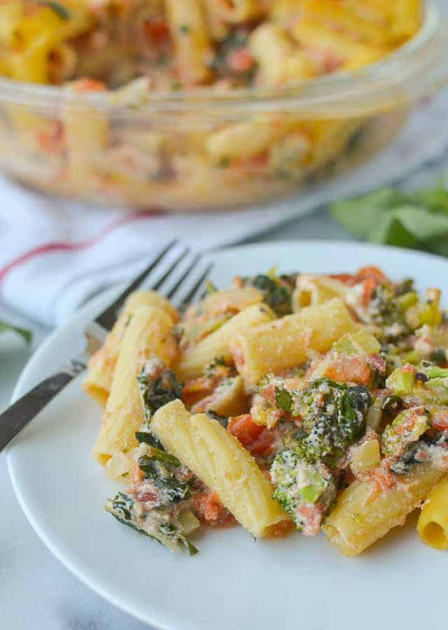 baked rigatoni with broccoli and kale