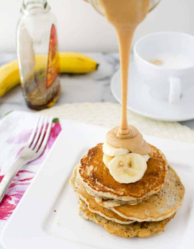 This is the best syrup I've ever had! Vegan chia pancakes topped with velvety, decadent maple-peanut butter syrup and fresh sliced bananas!