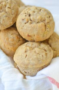 Healthy Banana Pecan Muffins! You are going to love these fluffy, moist muffins! Perfect for an afterschool snack or breakfast. | www.delishknowledge.com