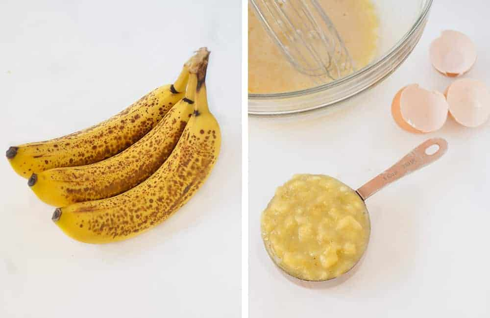 The raw ingredients for the banana nut muffins are simple and easy to get