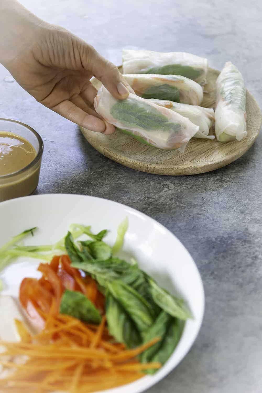 fresh basil spring rolls