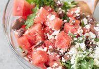 bowl of arugula, watermelon and feta salad