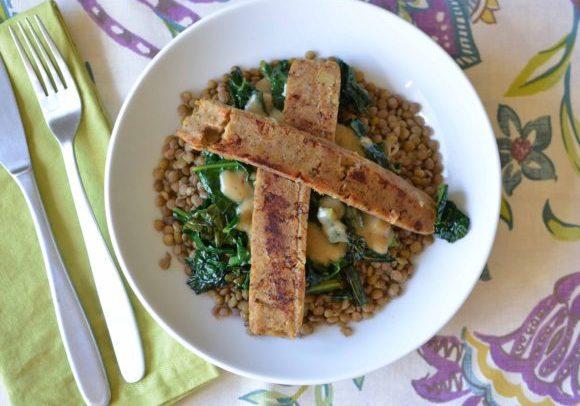 lentil bowl with kale and vegan sausage