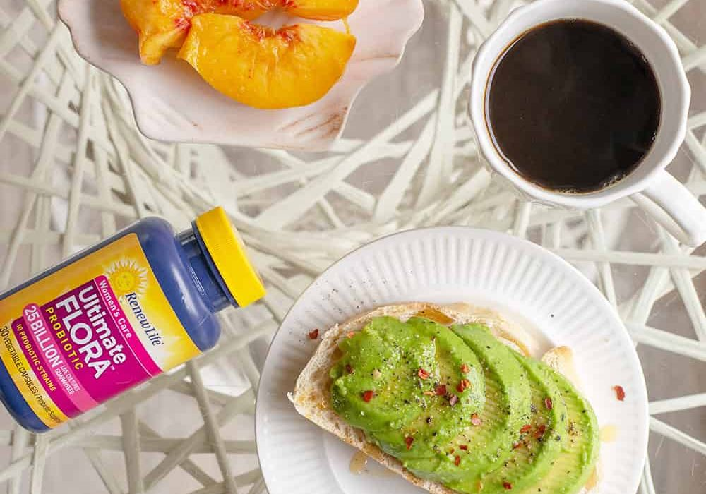 avocado toast with coffee and probiotics