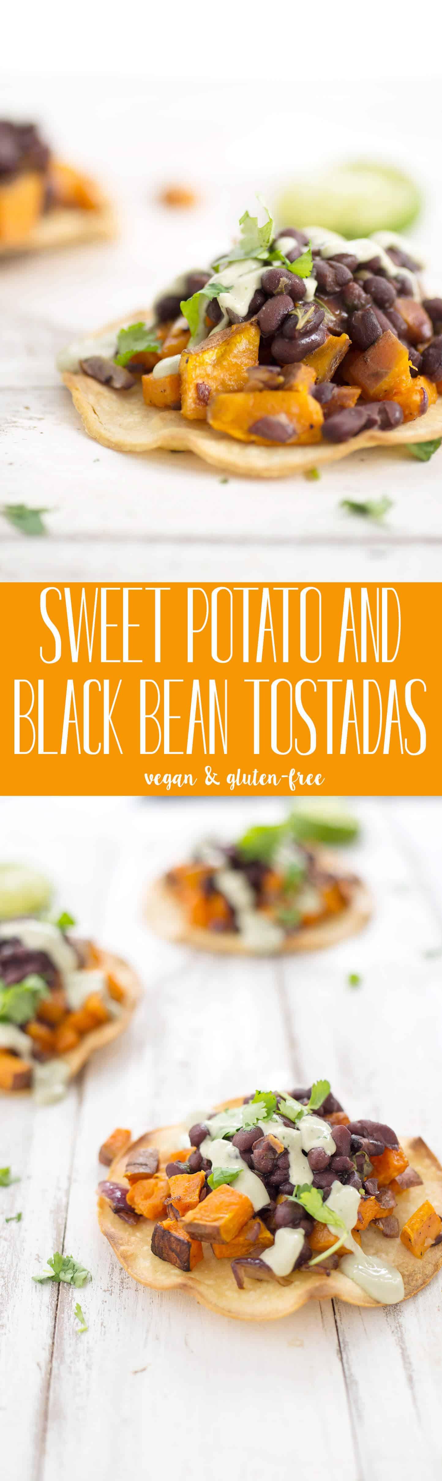 Black Bean and Sweet Potato Tostadas! Seasoned black beans piled high with roasted sweet potatoes, covered with avocado creme. Vegan & GlutenFree | www.delishknowledge.com