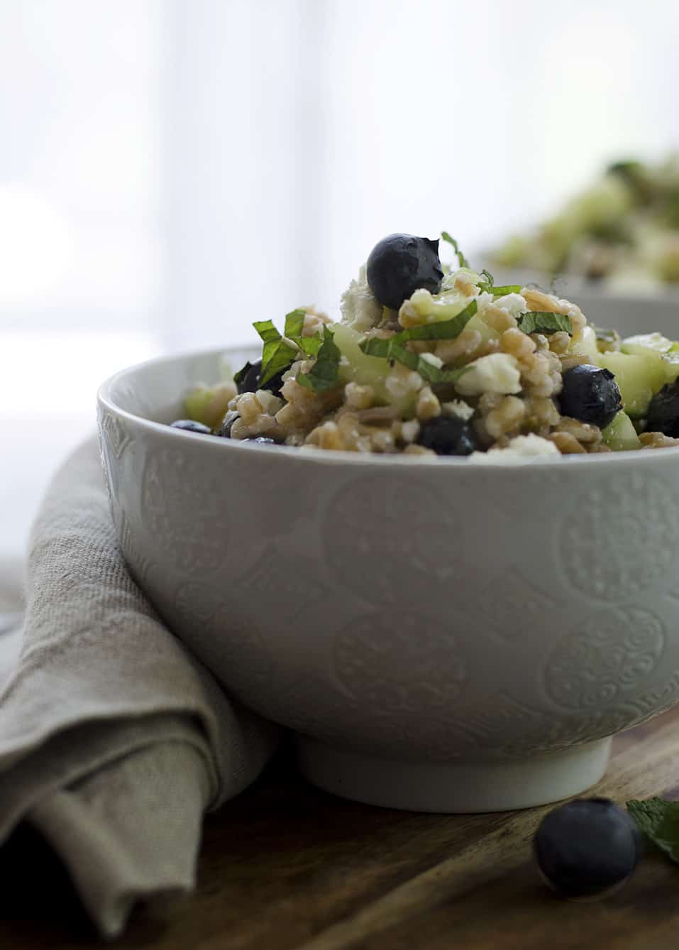 Blueberry and Farro Salad! This sweet and salty salad is perfect for summer entertaining! Fresh blueberries, chewy farro, cucumber and feta in a lemon-mint dressing. Vegetarian | www.delishknowledge.com