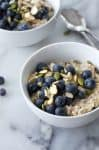 Blueberry Muesli! A healthy, vegan and gluten-free breakfast that's packed with fiber and nutrition. So simple to make! | www.delishknowledge.com
