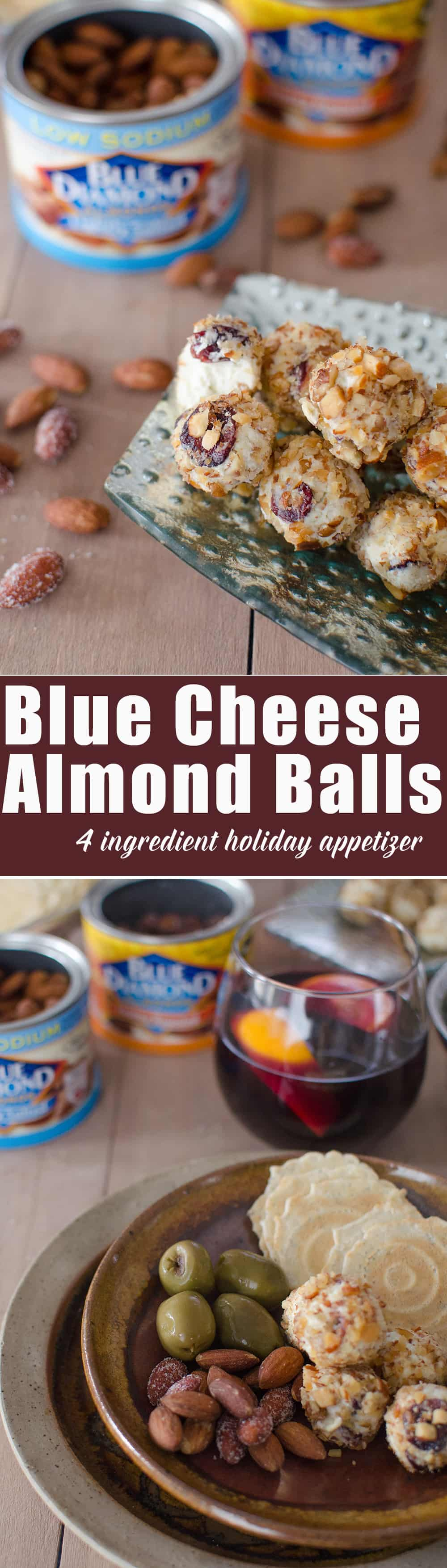 4 Ingredient holiday appetizer idea! Blue Cheese and Honey Almond Balls! Easy entertaining idea, a must for get-togethers this winter! @bluediamond | www.delishknowedge.com